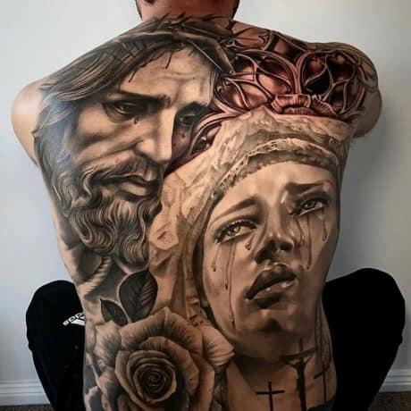 Religous Jesus & Mary tattoo