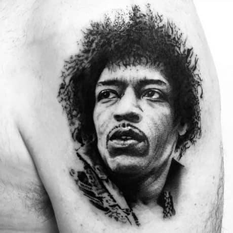 Memoriam Style Jimi Hendrix tattoo in arm
