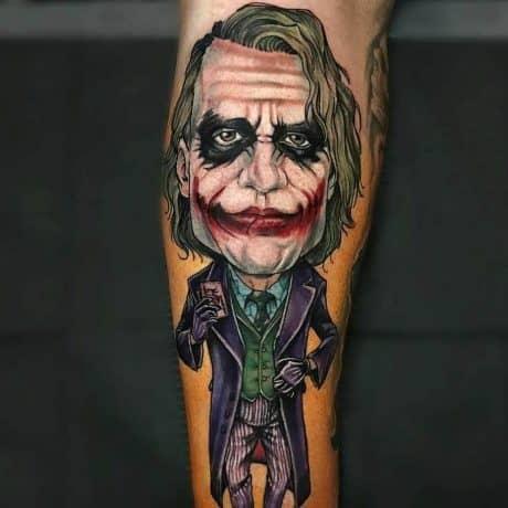 Cartoon Style of Joker Tattoo in arm