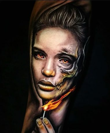 Portrait Style of Lady with Fire tattoo in arm
