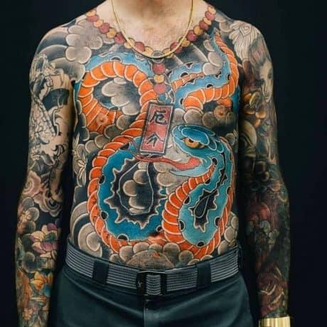 Irezumi Style Snake tattoo in body