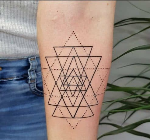 Line Style Triangle tattoo in arm