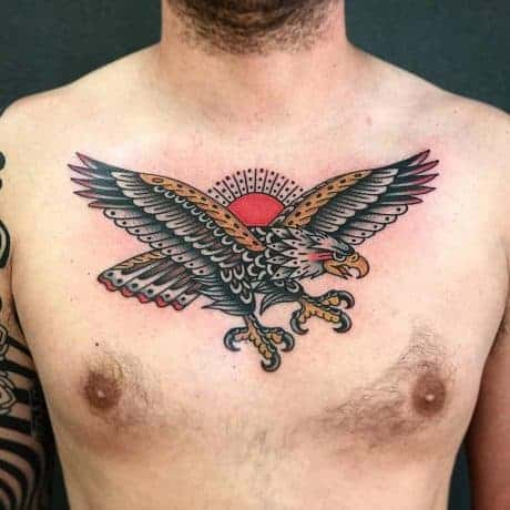 Traditional Eagle tattoo in chest