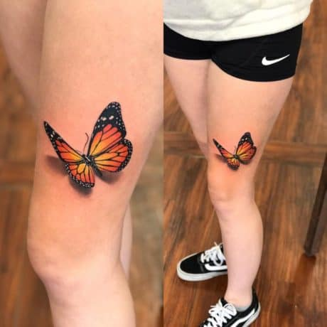 3D colorful butterfly tattoo on leg