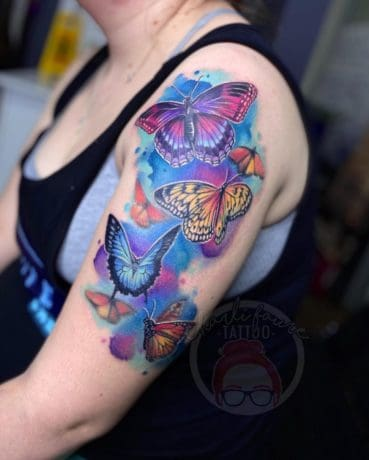 Colorful butterflies tattoo for women
